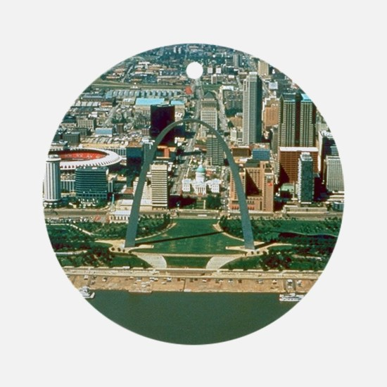 St. Louis Arch and Skyline Ornament (Round)