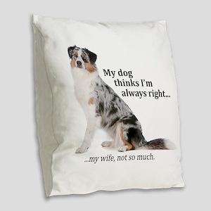 Aussie v Wife Burlap Throw Pillow