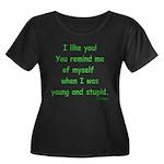 I like you! Women's Plus Size Scoop Neck Dark T-Sh