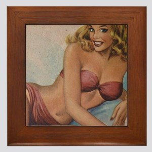 Pinup Girl Framed Tile