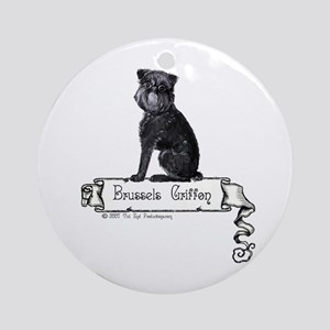 Brussels Griffon Banner Ornament (Round)
