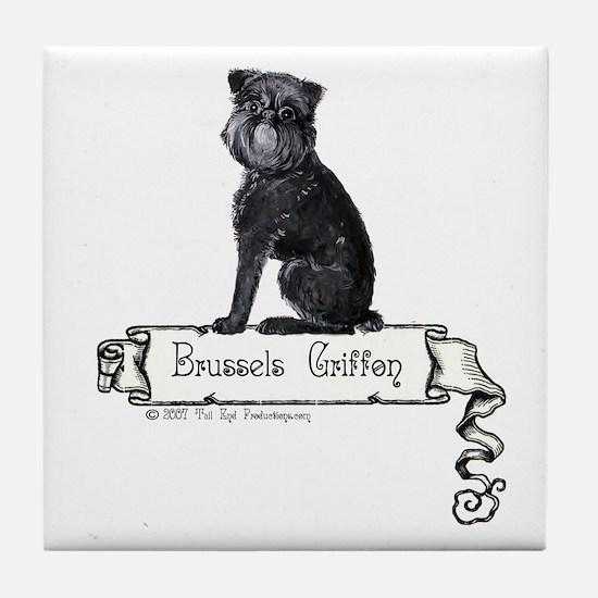 Brussels Griffon Banner Tile Coaster