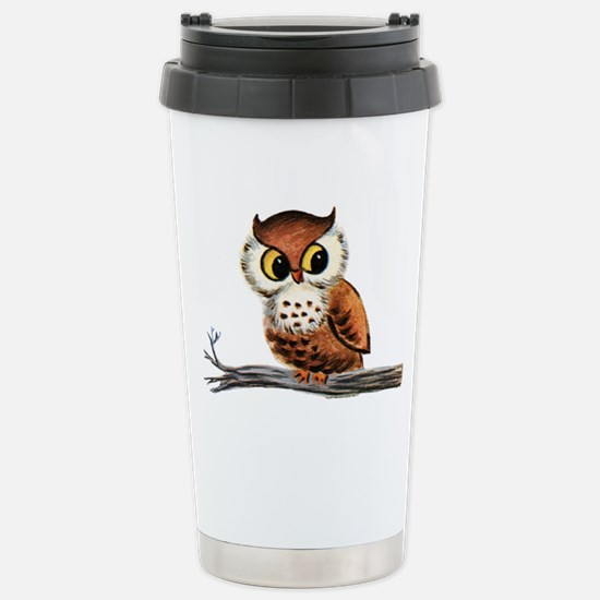 Vintage Owl Stainless Steel Travel Mug