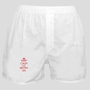 Keep Calm and Siestas ON Boxer Shorts
