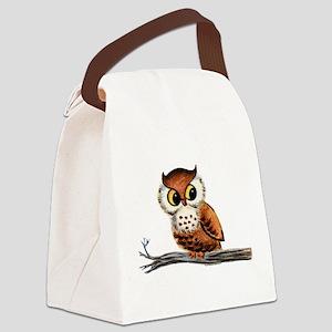 Vintage Owl Canvas Lunch Bag