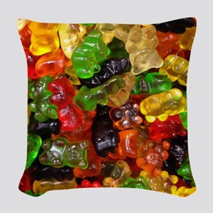 cute gummy bears Woven Throw Pillow