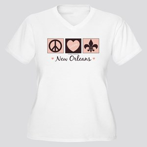 Peace Love New Orleans Women's Plus Size V-Neck T-