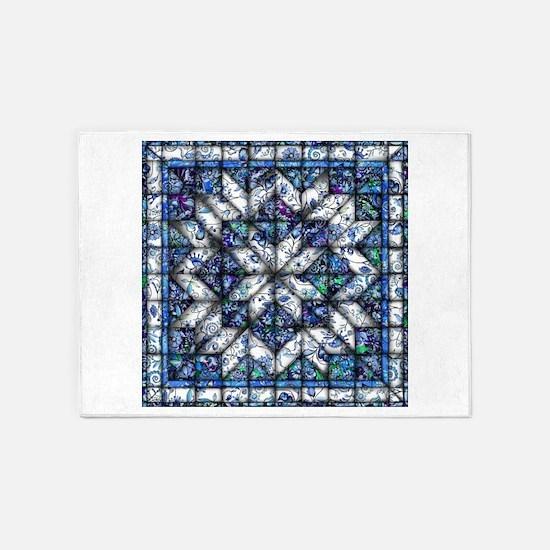 blue onion quilt 5'x7'Area Rug