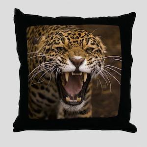Growling Jaguar Throw Pillow