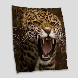 Growling Jaguar Burlap Throw Pillow