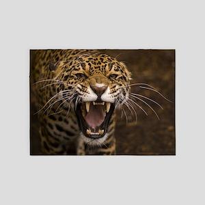 Growling Jaguar 5'x7'Area Rug