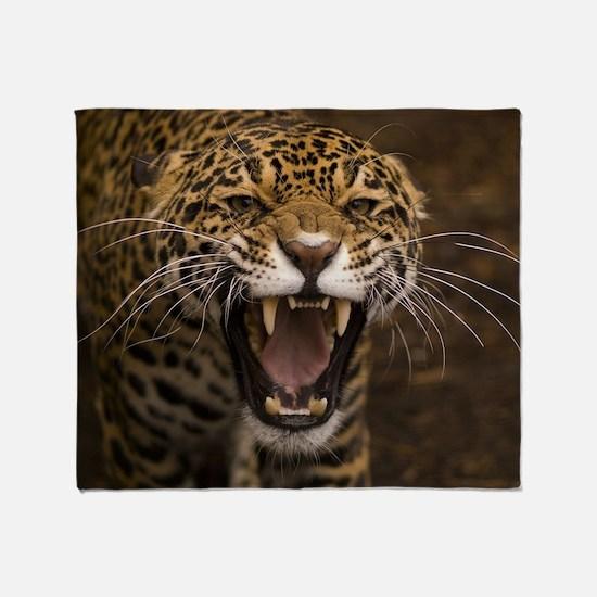 Growling Jaguar Throw Blanket