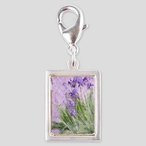 Purple Irises Silver Portrait Charm
