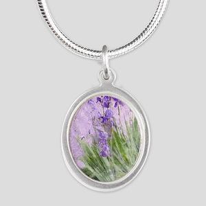 Purple Irises Silver Oval Necklace