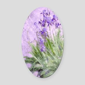Purple Irises Oval Car Magnet