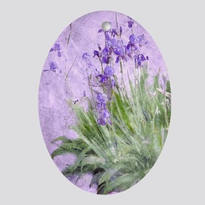Purple Irises Oval Ornament