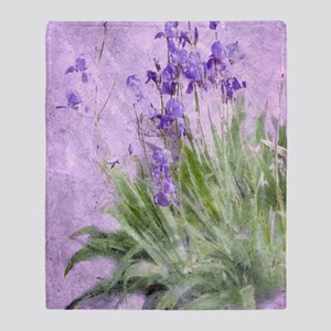 Purple Irises Throw Blanket