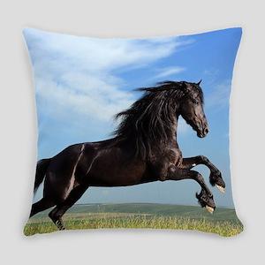 Black Horse Running Everyday Pillow
