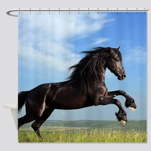Black Horse Running Shower Curtain