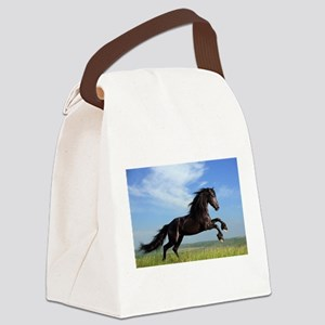 Black Horse Running Canvas Lunch Bag