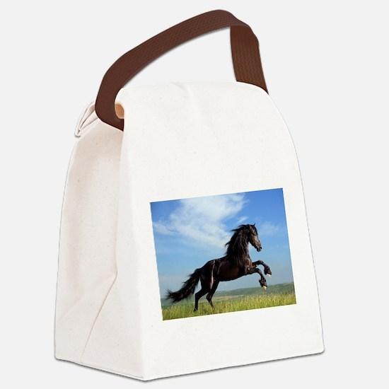 Black Horse Running Canvas Lunch Bag