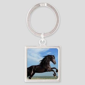 Black Horse Running Keychains