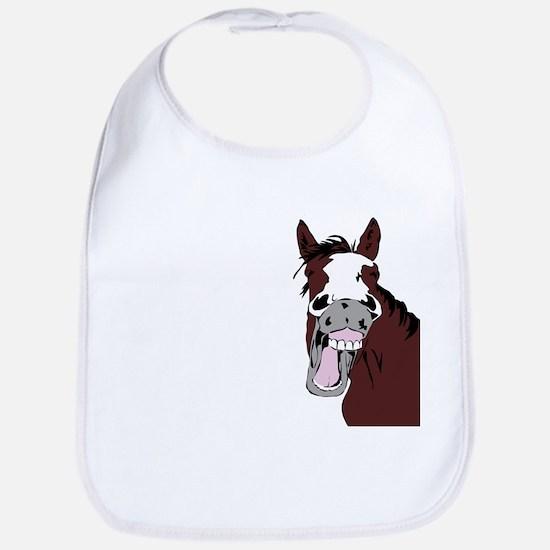 Cartoon Horse Laughing Funny Equestrian Art Bib