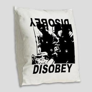 Disobey Burlap Throw Pillow
