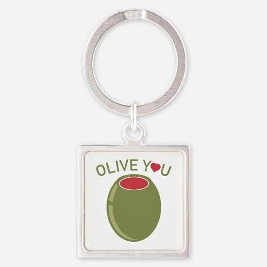 Olive You Square Keychain