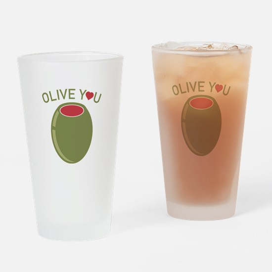Olive You Drinking Glass