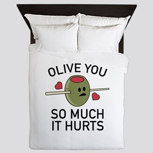 Olive You So Much It Hurts Queen Duvet