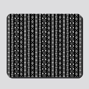 Mud Cloth Style - Black and White Mousepad