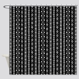 Mud Cloth Style - Black and White Shower Curtain