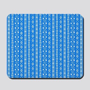 Mud Cloth Style - Mid-Blue and White Mousepad