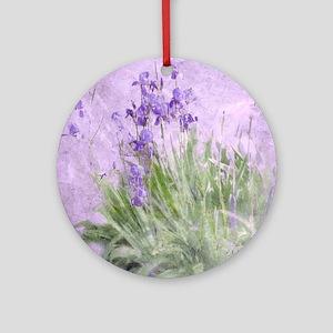 Purple Irises Round Ornament