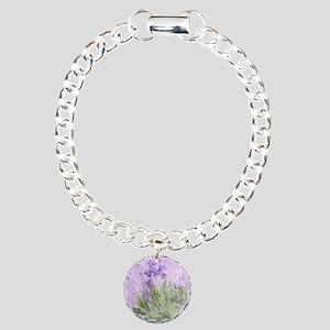 Purple Irises Charm Bracelet, One Charm