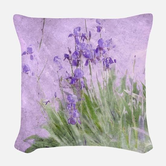 Purple Irises Woven Throw Pillow