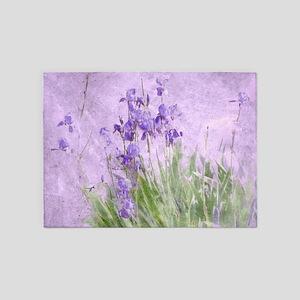 Purple Irises 5'x7'Area Rug