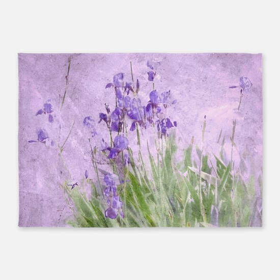 Purple Irises 5'x7'Area Rug