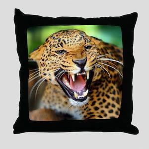 Growling Leopard Throw Pillow