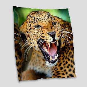 Growling Leopard Burlap Throw Pillow