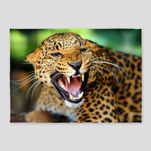 Growling Leopard 5'x7'Area Rug