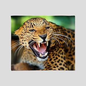 Growling Leopard Throw Blanket