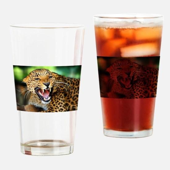 Growling Leopard Drinking Glass