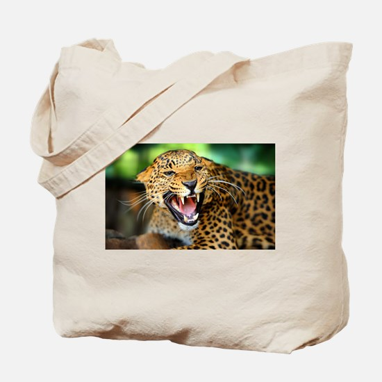 Growling Leopard Tote Bag
