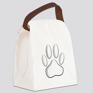 White Dog Paw Print With Newsprin Canvas Lunch Bag