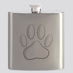 White Dog Paw Print With Newsprint Effect Flask