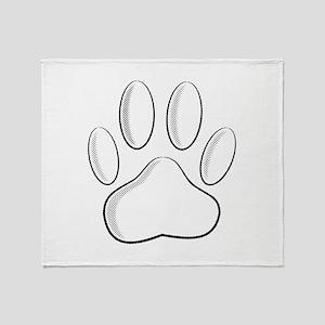 White Dog Paw Print With Newsprint E Throw Blanket