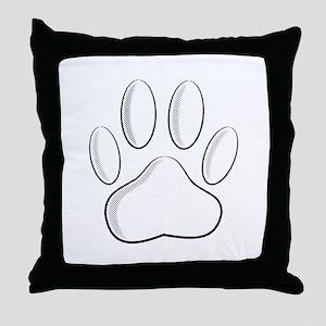White Dog Paw Print With Newsprint Ef Throw Pillow