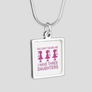 I Have Three Daughters Silver Square Necklace